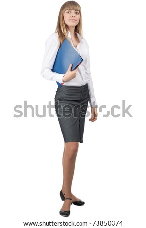 Full length portrait of young attractive businesswoman with blue folder in her hand, isolated on white background - stock photo