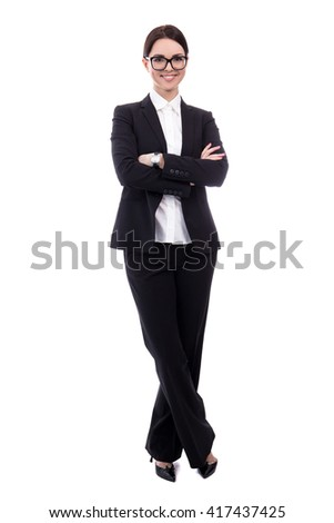 full length portrait of young beautiful business woman isolated on white background - stock photo