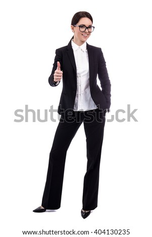 full length portrait of young beautiful business woman thumbs up isolated on white background - stock photo