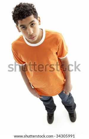 Full Length Portrait Of Young Boy - stock photo