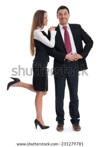 full length portrait of young business people. Isolated over white background - stock photo