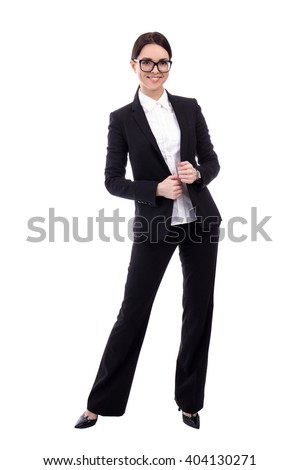 full length portrait of young business woman isolated on white background - stock photo