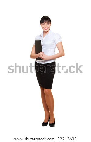 full-length portrait of young businesswoman with folder. isolated on white background - stock photo