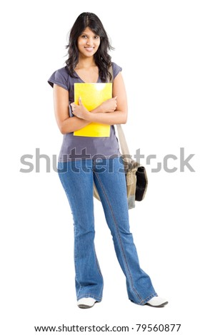 full length portrait of young female college student on white - stock photo