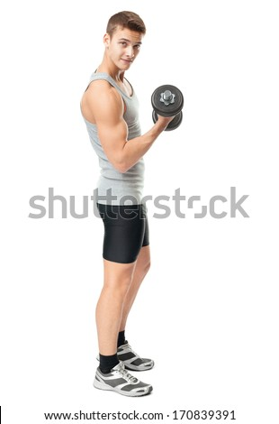 Full length portrait of young fit muscular man exercising with dumbbells for training his biceps isolated on white background - stock photo