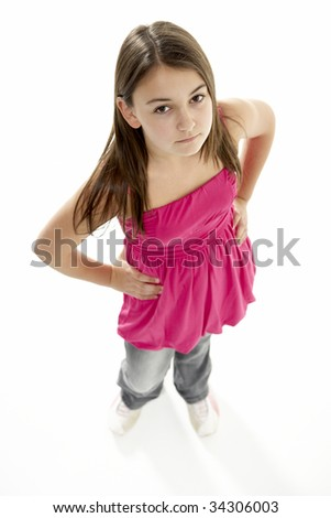 Full Length Portrait Of Young Girl - stock photo
