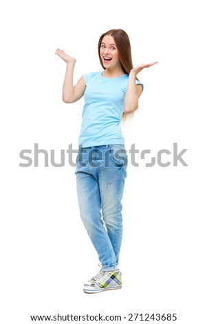 Full length portrait of young girl in casual clothing isolated on white background. - stock photo