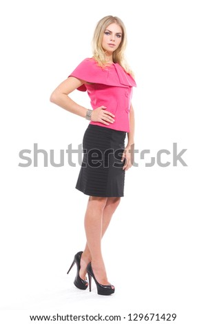 full-length portrait of young girl isolated on white background - stock photo