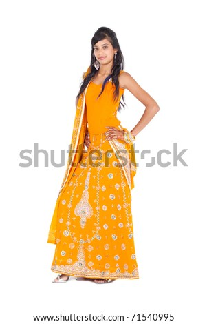 full length portrait of young indian woman - stock photo