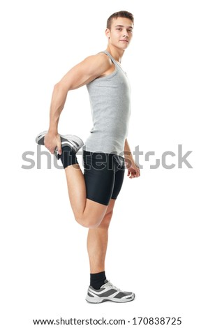 Full length portrait of young man athlete doing stretches exercises isolated on white background