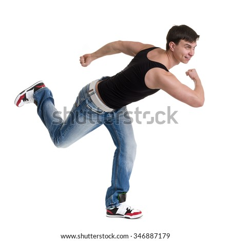 Full length portrait of young man athlete doing stretches exercises isolated on white background - stock photo