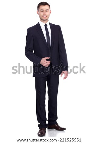Full length portrait of young man isolated on white background