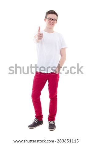 full length portrait of young man thumbs up isolated on white background - stock photo