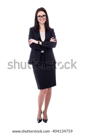 full length portrait of young woman in business suit isolated on white background