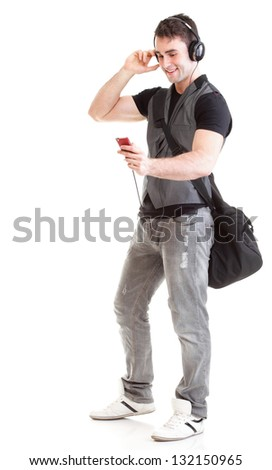 Full length portrait school boy phone isolated on white - stock photo
