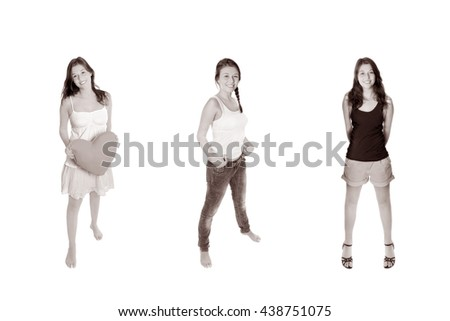 Full length portraits of an eighteen year old girl wearing three different outfits, isolated on white studio background, monochrome - stock photo