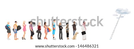 Full length portraits of people in a queue waiting to climb a ladder with clouds, isolated on white background, shot with a tilt and shift lens - stock photo