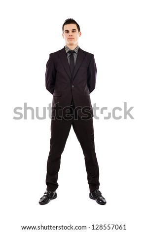 Full length pose of handsome businessman isolated on white background. Business concept - stock photo