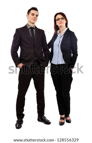 Full length pose of successful businessman and woman isolated on white background. Business concept