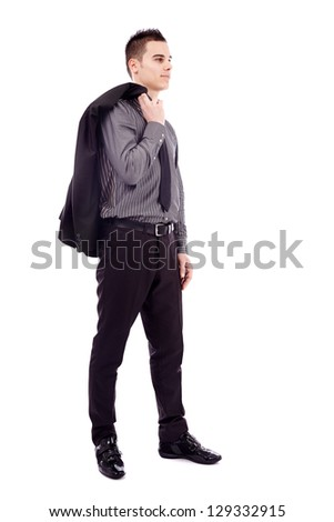 Full length pose of successful businessman, holding his coat on his shoulder, isolated on white background - stock photo
