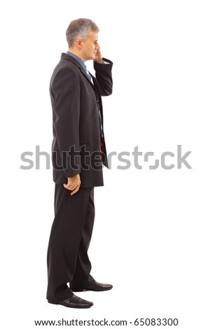 Full length profile of a middle aged business man - stock photo