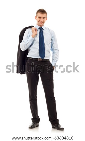 Full length profile of a young business man with coat over shoulder against white - stock photo