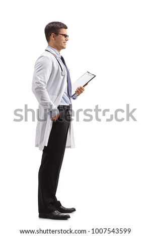 Full length profile shot of a doctor with a clipboard waiting in line isolated on white background