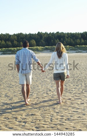 Full length rear view of a couple walking hand in hand at beach - stock photo