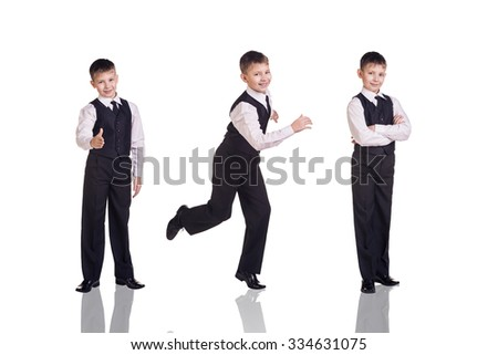 Full length set of a boy in suit and tie isolated on white background - stock photo