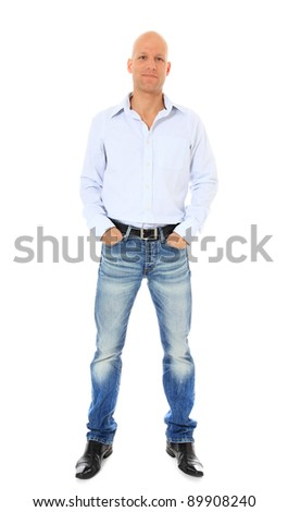 Full length shot of a confident middle age man. All on white background.