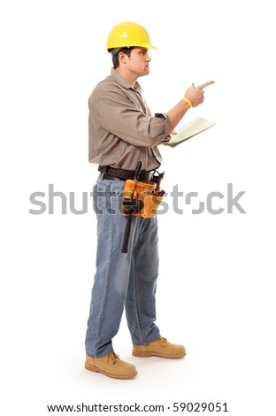 Full length shot of a construction worker pointing at copy space - stock photo