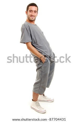 full length shot of a young man, isolated on white - stock photo