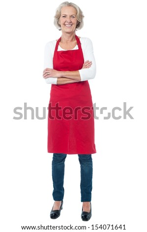 Full length shot of an aged female chef - stock photo