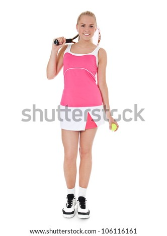 Full length shot of an attractive female tennis player. All on white background. - stock photo