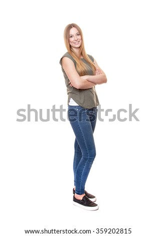 Full length shot of an attractive young woman. All on white background. - stock photo