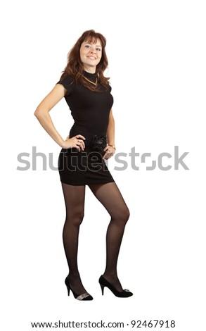 full length shot of beauty girl in black dress over white background - stock photo