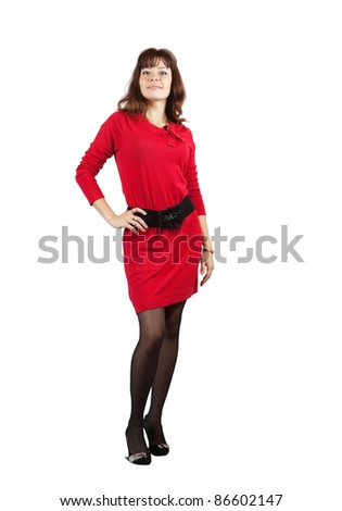 full length shot of beauty girl in red dress over white background - stock photo