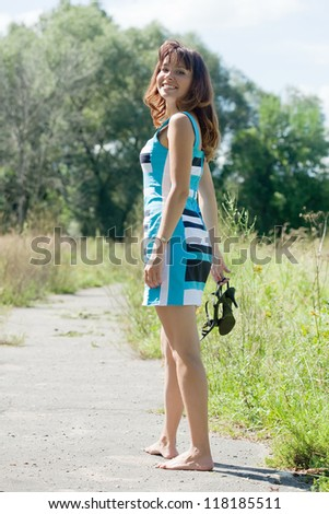 Full length shot of girl  in summer - stock photo