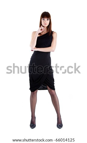 Full length shot of sexy woman in evening dress, isolated on white background - stock photo