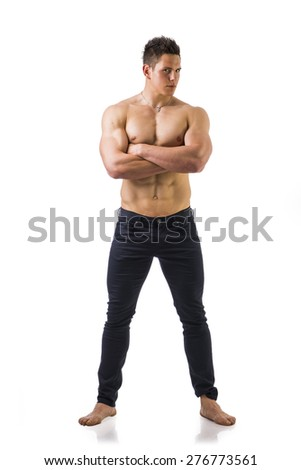 Full length shot of shirtless muscular young man in jeans, arms crossed pose, isolated on white - stock photo