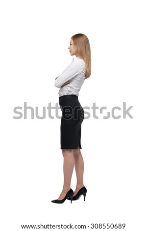 Full length side view of the business lady in formal clothes. Isolated. - stock photo