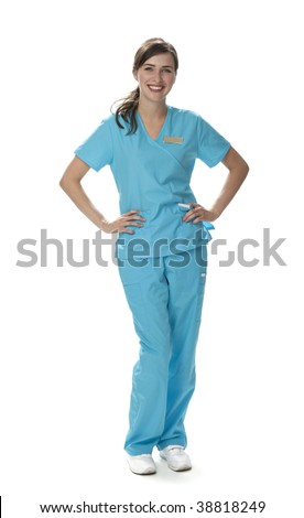 Full length studio photo of attractive young woman dressed in scrubs. White background. - stock photo