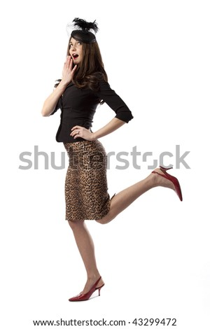 Full length studio photo of attractive young woman in retro clothing. White background.