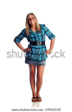 Full length studio shot of attractive teenager - stock photo