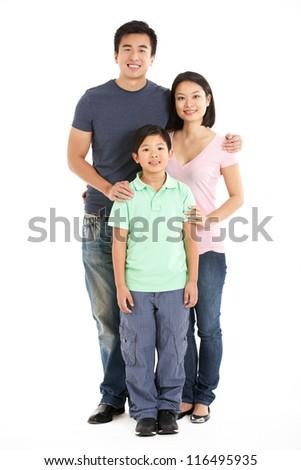 Full Length Studio Shot Of Chinese Family - stock photo