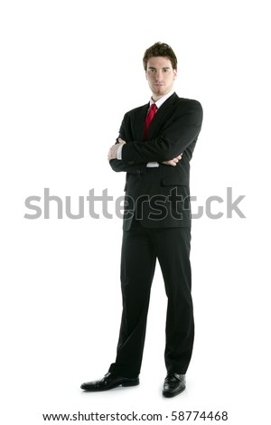 full length suit tie businessman posing stand isolated on white