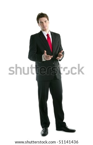 full length suit tie businessman talking hands gesture isolated on white