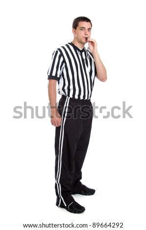Full length teen referee portrait blowing his whistle isolated on white - stock photo