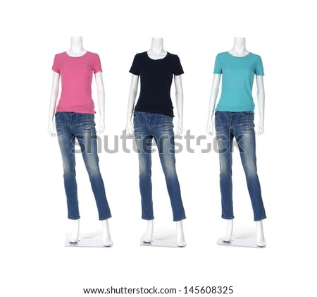 Full length three female shirt in jeans on mannequin - stock photo
