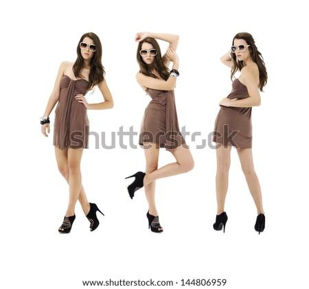 full length three shot of fashion model wearing sunglasses posing - stock photo